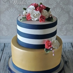 Navy and White Stripe and Gold Shimmer