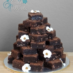 Brownie Tower with Sugar Flowers