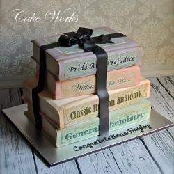 Nostalgic Books Graduation Cake