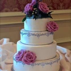 Elegant Lavender Piping with Fresh Flowers